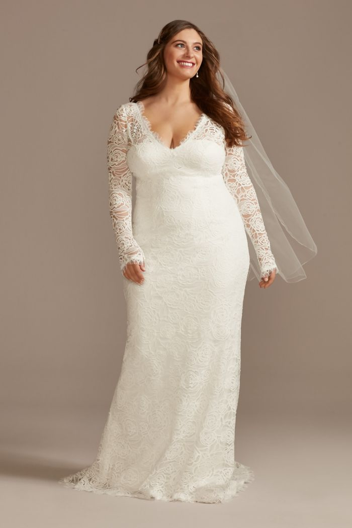 Long Sleeve Lace Plus Wedding Dress with Tie