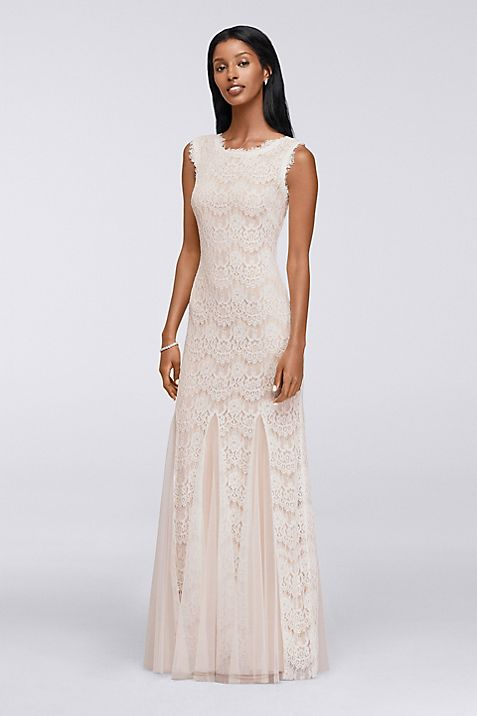 Long Lace Dress with Mesh Godets | David\'s Bridal