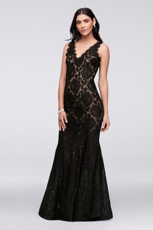 V Neck Floral Lace Mermaid Gown With Eyelash Trim David