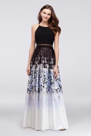 Long Ballgown Halter Dress - Betsy and Adam