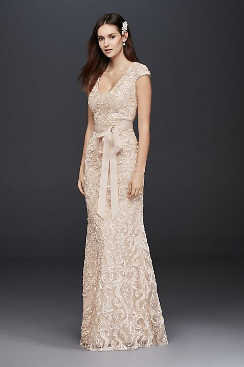 Cap Sleeve Soutache Lace Dress With Grosgrain Sash Davids Bridal