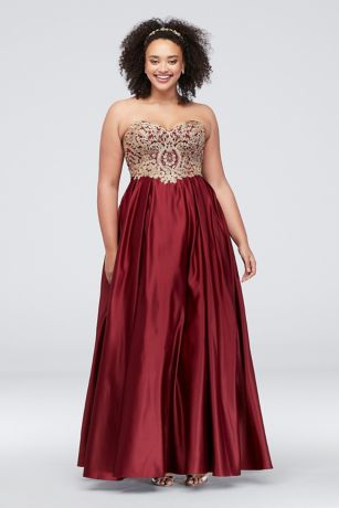 Long Ballgown Strapless Dress - Betsy and Adam