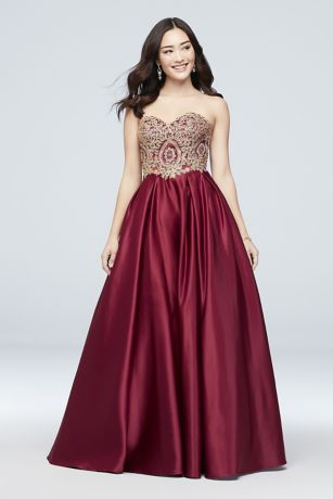 544a0f1d04 Long Ballgown Strapless Dress - Betsy and Adam
