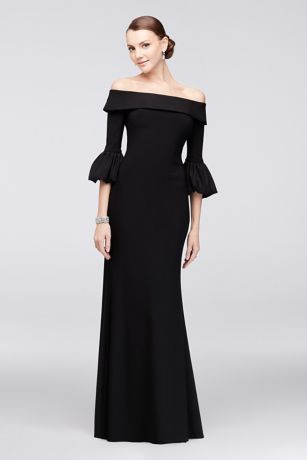 Off The Shoulder Bell Sleeve Jersey Gown David S Bridal