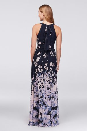 Abstract Floral Chiffon Tie Back Gown David S Bridal