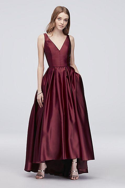 V-Neck Satin Tank Ball Gown with Pleats   David\'s Bridal