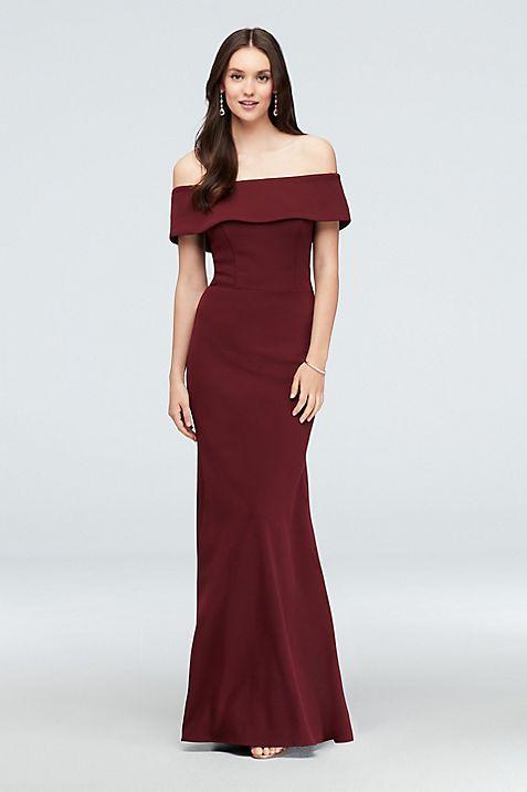 Off-the-Shoulder Exposed Zip Scuba Mermaid Gown | David\'s Bridal