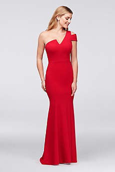 Asymmetric Notched Neckline Crepe Mermaid Gown