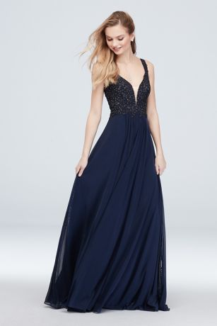 Plunging V Ball Gown with Gem and Applique Bodice