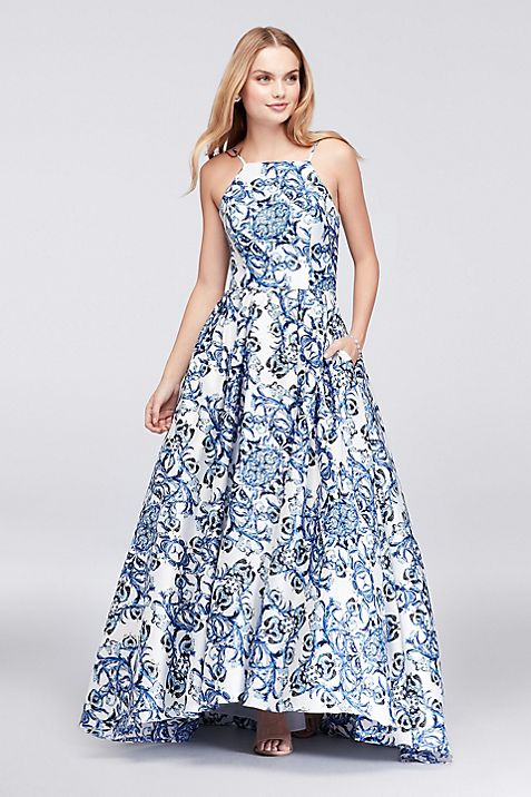 Printed Satin Halter Ball Gown with Lace-Up Back | David\'s Bridal