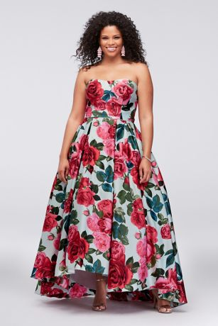 High Low Ballgown Strapless Dress - Betsy and Adam