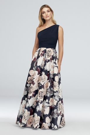 Printed Satin and Jersey One-Shoulder Ball Gown