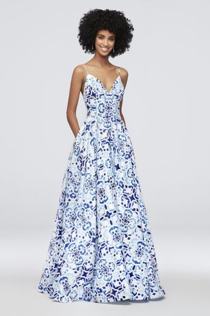 Mosaic Print Deep V-Neck Ball Gown with Low Back