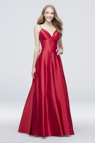 2502eac20e Long Ballgown Spaghetti Strap Dress - Betsy and Adam