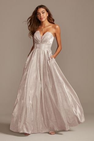 Glittery Strapless Ball Gown with Illusion Plunge