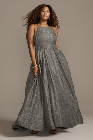 Long Ballgown Halter Dress - Betsy and Adam