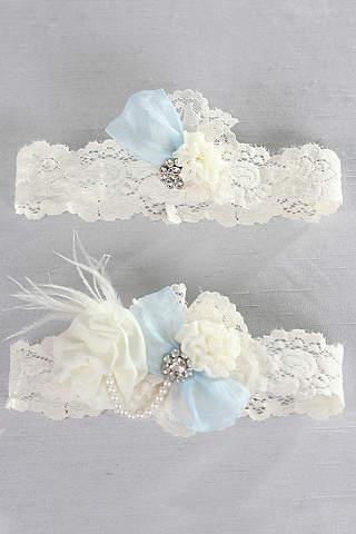 Bridal garters wedding garter sets in all sizes davids bridal something blue vintage lace garter set junglespirit Image collections