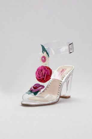 Pink by Betsey Johnson Multi Heeled Sandals (Clear Strappy Sandals with Colorful Floral Detail)