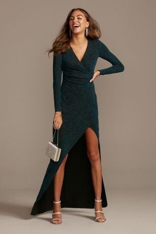 Glitter Knit Long Sleeve V-Neck Dress with Ruching