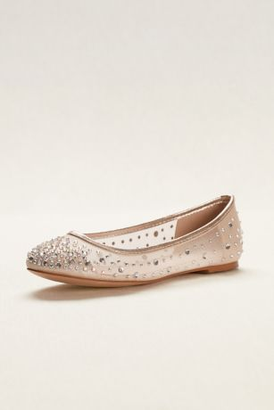 Blossom Beige;White Ballet Flats (Ballet Flat with Scattered Crystal Accesnts)