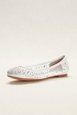 Beige;White Ballet Flats (Ballet Flat with Scattered Crystal Accesnts)