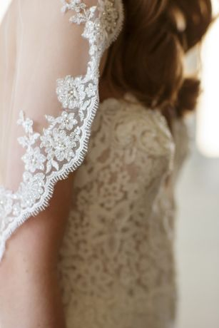 Scalloped Alencon Lace-Trimmed Veil with Comb
