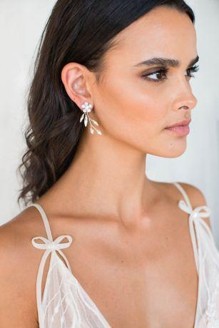 Opal, Swarovski and Sterling Floral Spray Earrings
