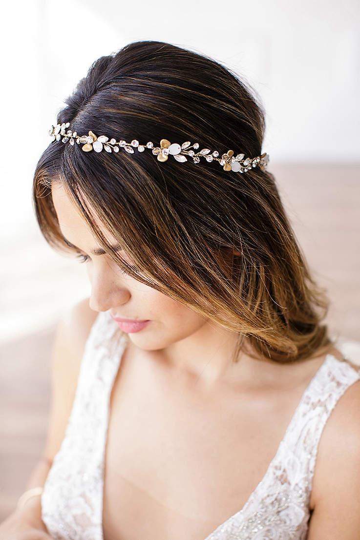 Bridal Wedding Headbands Davids Halo I Tie Headband Black 14k Gold And Crystal Petals