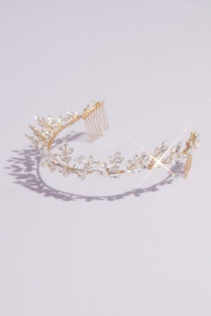 Freshwater Pearl and Swarovski Crystal Vine Tiara