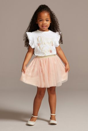 Little Miss Flower Girl T-Shirt and Tutu Skirt Set