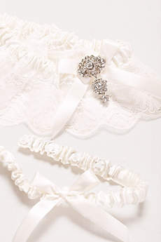 Adjustable Jeweled Lace Garter Set
