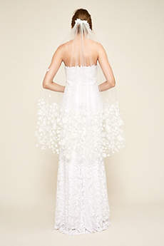 Ora Floral Applique Fingertip-Length Veil