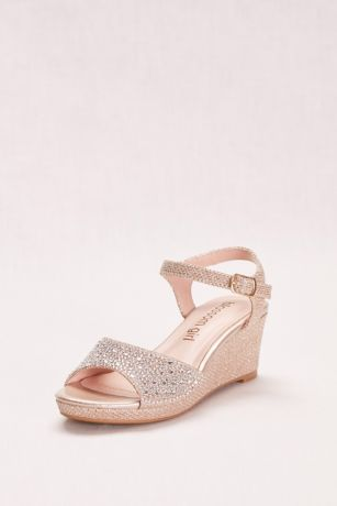 "Blossom Grey;Yellow Flowergirl Shoes (Crystal Studded Girls"" Glitter Wedge)"