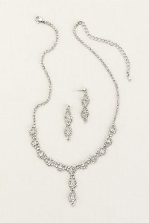 Double Drop Crystal Earring and Necklace Set