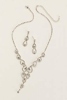 Crystal Pear Shaped Y Necklace and Earring Set