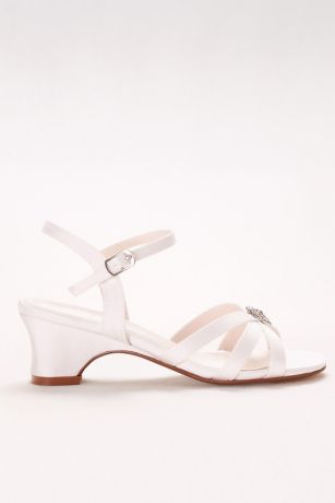 David's Bridal White Flowergirl Shoes (Girls Strappy Satin Sandals with Rhinestones)