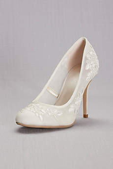 David's Bridal Ivory Pumps (Round-Toe Mesh Pumps with Corded Lace Appliques)