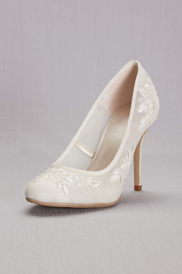 d87a50df7 David's Bridal Ivory Pumps (Round-Toe Mesh Pumps with Corded Lace Appliques)