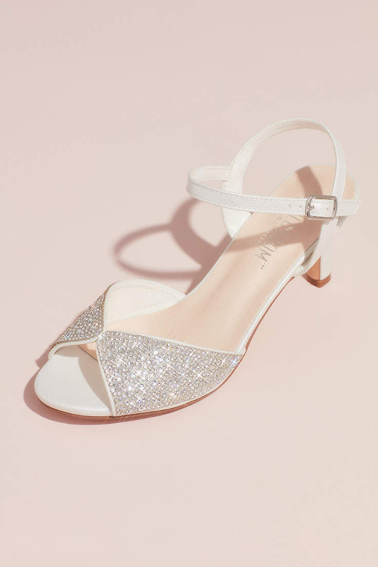 0b095e25ac433 Blossom White Sandals (Crystal Peep-Toe Heeled Sandals with Satin Accents)