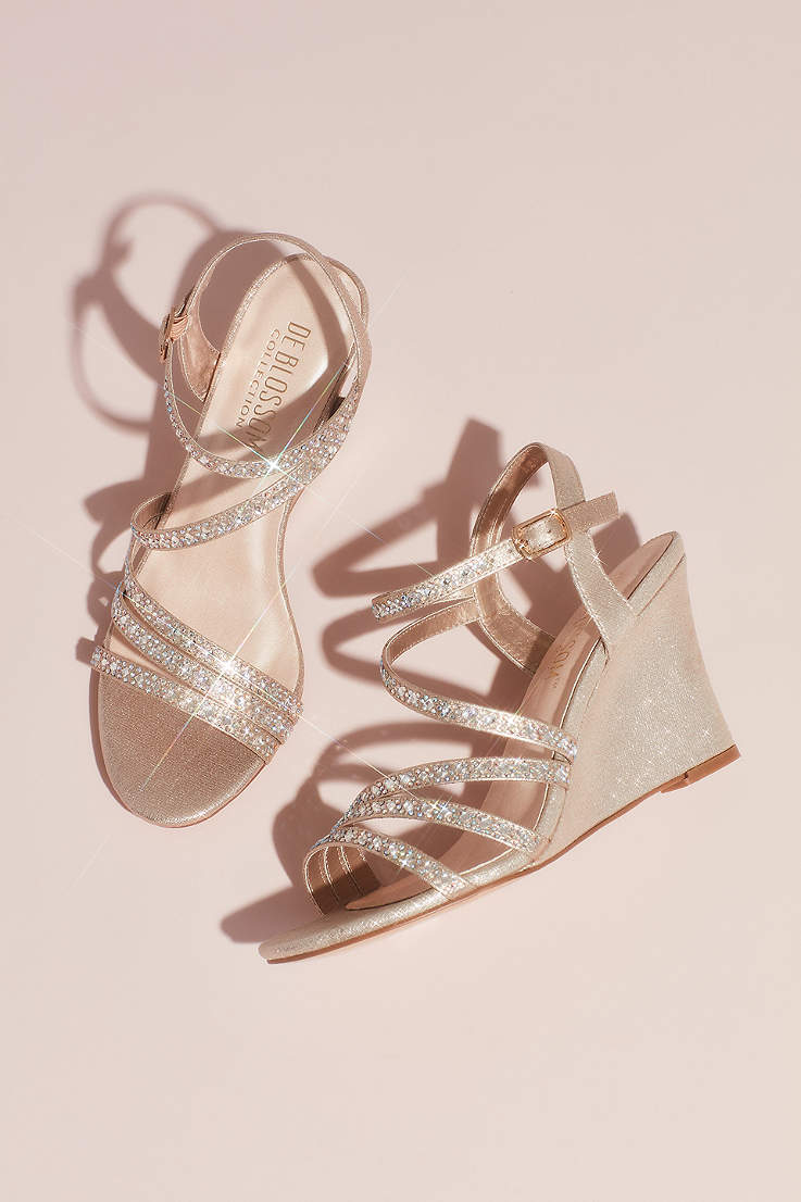 4bb914864ae3 Blossom Grey Ivory Wedges (Strappy Low Wedges with Crystal Details)