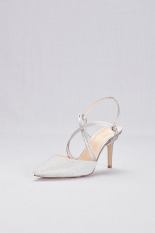 American Glamour Grey Pumps (Strappy Glitter Mesh Pointy Toe Heels)