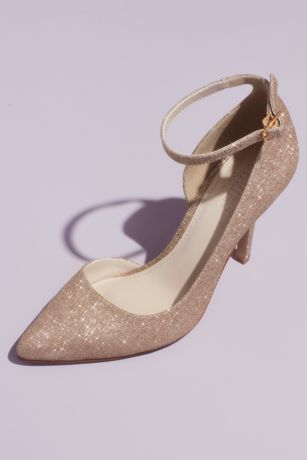 "David's Bridal Grey;Ivory Pumps (Glitter D""Orsay Heels with Ankle Strap)"