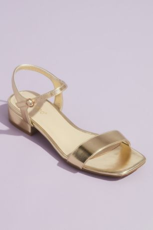 Bamboo Grey;Yellow Heeled Sandals (Block Heel Metallic Sandals with Ankle Strap)