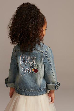 Little Miss Flower Girl Embroidered Jean Jacket