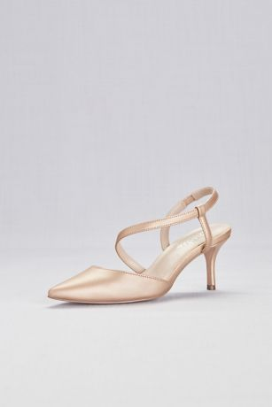 Charles By Charles David Pink Pumps (Metallic Pointy Toe Heels with Swooping Strap)