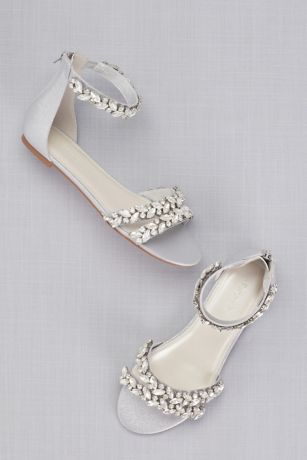 David's Bridal Grey Flat Sandals (Jeweled Metallic Ankle Strap Flat Sandals)