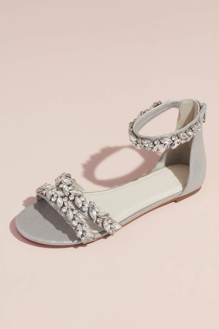 122631fbb72a David's Bridal Grey Flat Sandals (Jeweled Metallic Ankle Strap Flat Sandals)