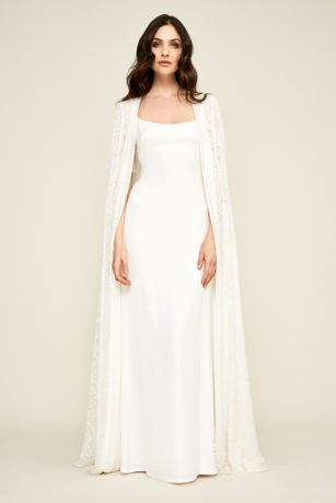 Long Sheath Wedding Dress Tadashi Shoji