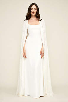 Long Sheath Beach Wedding Dress Tadashi Shoji