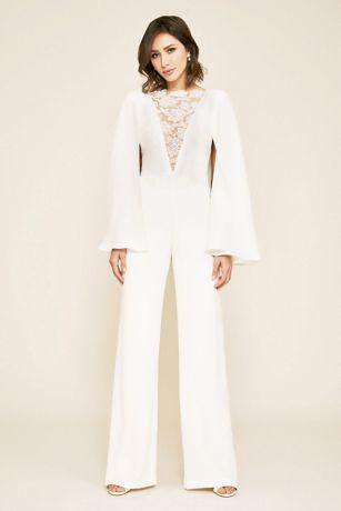 Long Jumpsuit Wedding Dress - Tadashi Shoji